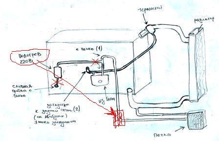 Подогрев двигателя своими руками чертеж