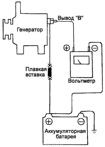 к выводу «В» генератора и