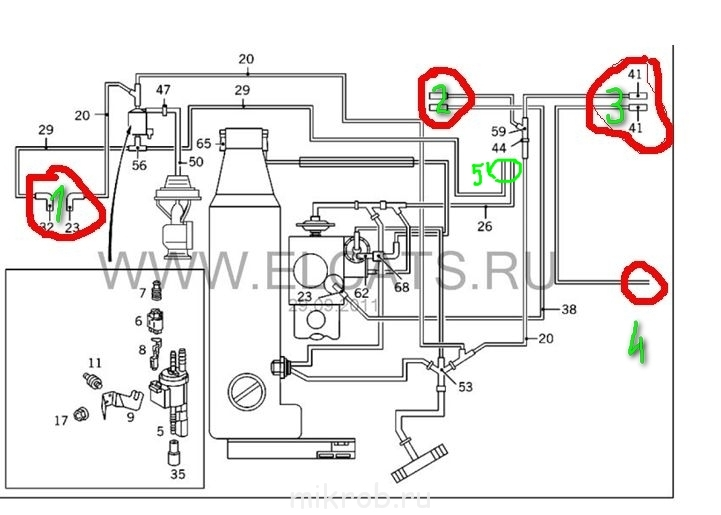 Схема вакуумной системы мерседес фото 820
